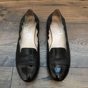AGL Black Leather & Patent Flats 38 1/2